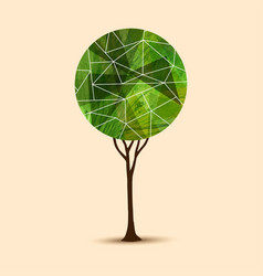 green tree abstract geometric design vector image vector image
