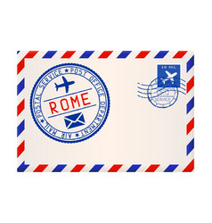 international air mail envelope from rome italy vector image vector image