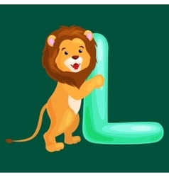 letter L with lion animal for kids abc education vector image