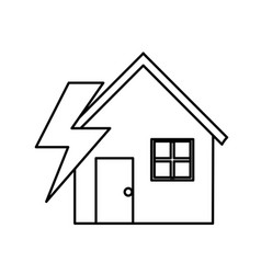 Line house with energy symbol to care environment vector