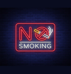 no smoking neon sign bright character neon vector image