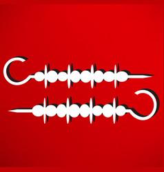 shish kebab on skewers icon vector image