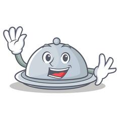 waving tray character cartoon style vector image vector image