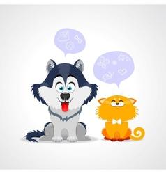 cat dog vector image