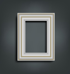 Silver carved frame on gray vector