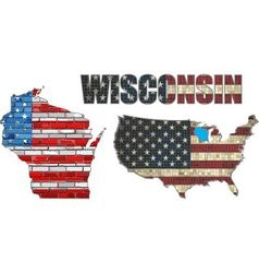 USA state of Wisconsin on a brick wall vector image
