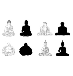 Buddha Black Outline Silhouettes vector image vector image