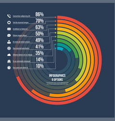 circle informative infographic template 9 options vector image