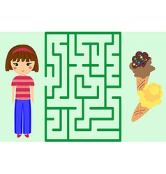 Maze Game Help the Girl to Get Ice-Cream Puzzle vector image vector image