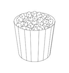 Popcorn in cardboard bucket icon vector image vector image