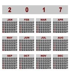 Simple demo 2017 calendar template vector image vector image
