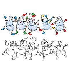 Snowmen dance vector