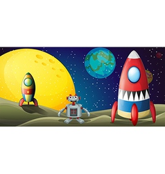 A robot between two spaceships at the outerspace vector image