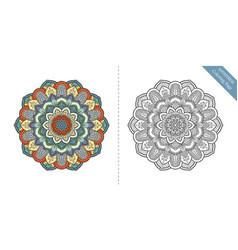 Antistress coloring page mandala second vector