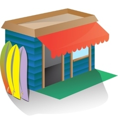 Around the sports equipment - Rent surfboard or vector image