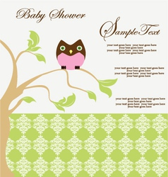 BABY SHOWER CARD WITH OWL vector image