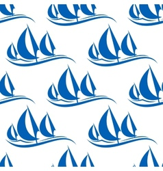 Blue yachts seamless pattern vector image vector image
