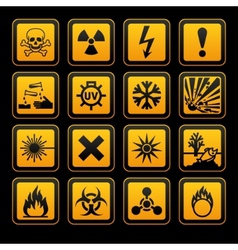 hazard symbols orange s sign on black background vector image
