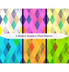 Set of six seamless modern plaid patterns vector