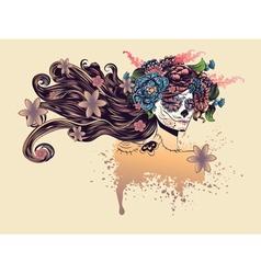 Sugar Skull Girl in Flower Crown8 vector image