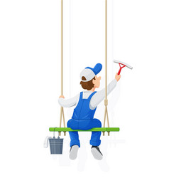 window washer cleaning vector image vector image