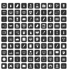 100 webdesign icons set black vector