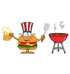 American Hamburger Cartoon Partying vector image