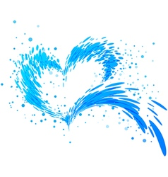 Aqua splash heart vector image