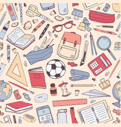 back to school seamless pattern with education vector image
