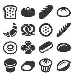 Bakery and pastry bread icons set vector