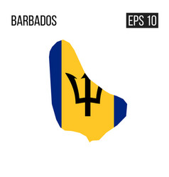 barbados map border with flag eps10 vector image