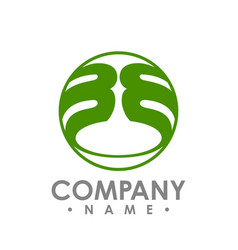 bb initial letter circle logo design lettering vector image