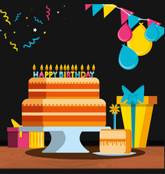 birthday cake with gifts and candles vector image