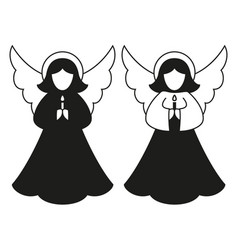 black and white christmas angel pair silhouette vector image