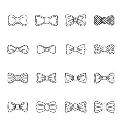 bowtie ribbon man tuxedo icons set outline style vector image