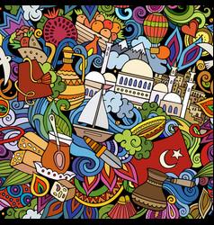 Cartoon doodles turkey seamless pattern vector