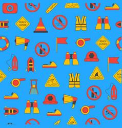 cartoon lifeguard seamless pattern background vector image