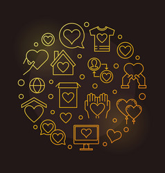 Charity and donation round outline golden vector