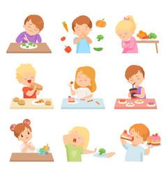 children do not like vegetables set kids enjoying vector image