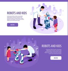 Children robotics horizontal banners vector