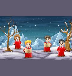 Children singing christmas carol in north pole bac vector