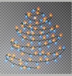 christmas color tree of lights string transparent vector image
