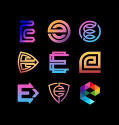 Collection letter logo e full color gradient vector
