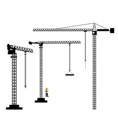 Collection of tower crane black silhouettes vector