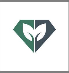 diamond leaf icon sign design vector image