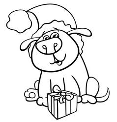 Dog with christmas gift coloring book vector