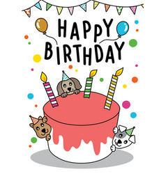 doodle cute cat and dog with cake for happy vector image