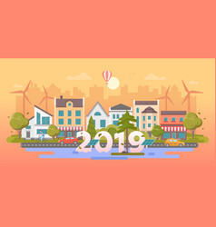 Eco town - modern flat design style vector