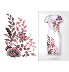 Embroidery colorful trend floral pattern vector