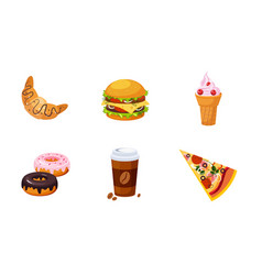 fast food dishes drink and dessert set croissant vector image